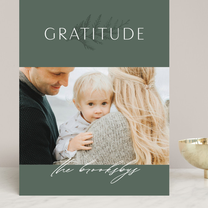 """Gratitude"" - Grand Holiday Cards in Evergreen by Erin L. Wilson."