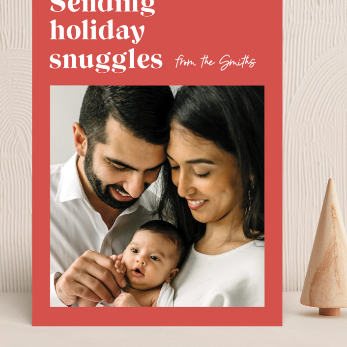 """""""Holiday Snuggles"""" - Modern Grand Holiday Cards in Melon by Catherine Culvenor."""