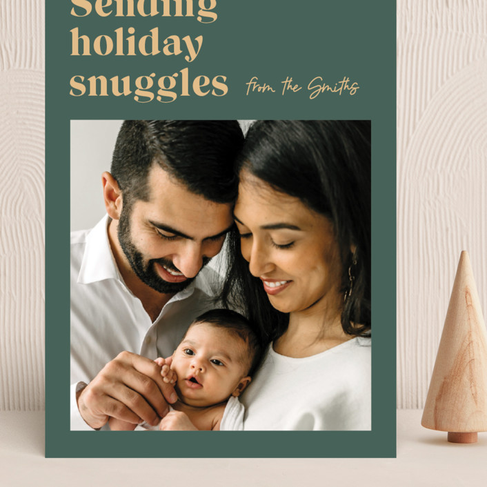 """""""Holiday Snuggles"""" - Funny Grand Holiday Cards in Sage by Catherine Culvenor."""