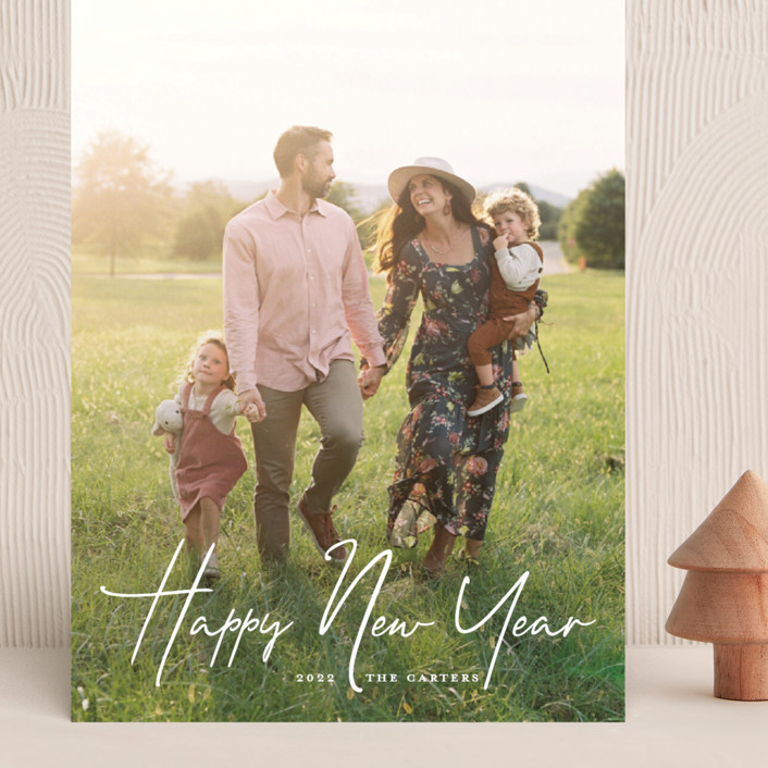 """""""New Year Script"""" - Grand Holiday Cards in Snow by GeekInk Design."""