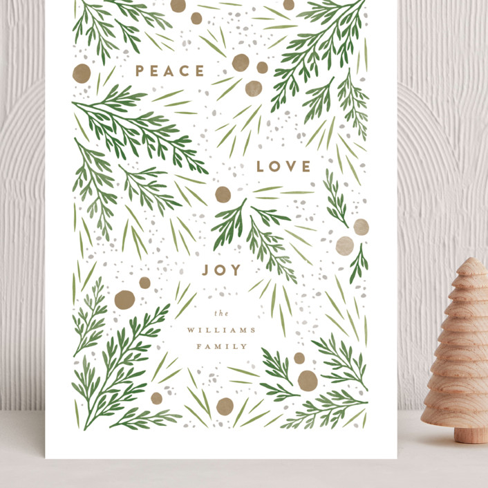 """""""Moody Flatlay"""" - Grand Holiday Cards in Snow by Robert and Stella."""