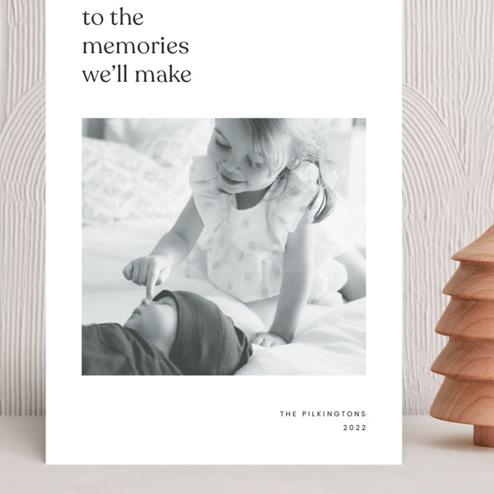 """""""To the memories we'll make"""" - Grand Holiday Cards in Charcoal by Blustery August."""
