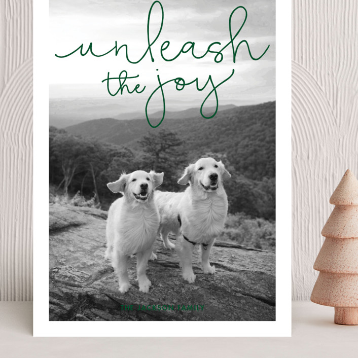 """""""Unleash the Joy"""" - Funny Grand Holiday Cards in Pine by Sandra Picco Design."""