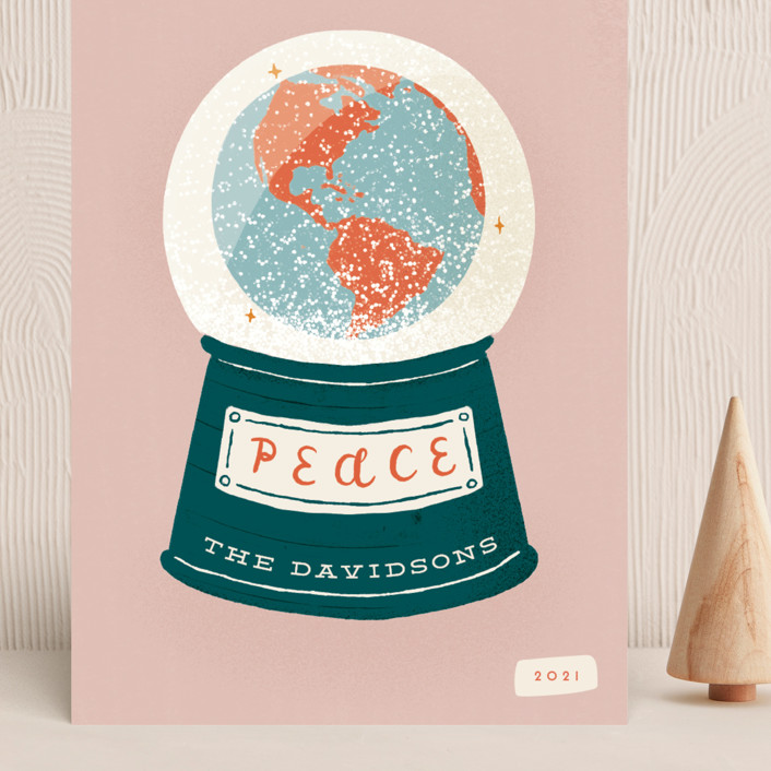 """""""Snow Globe"""" - Grand Holiday Cards in Dusty Rose by Gwen Bedat."""