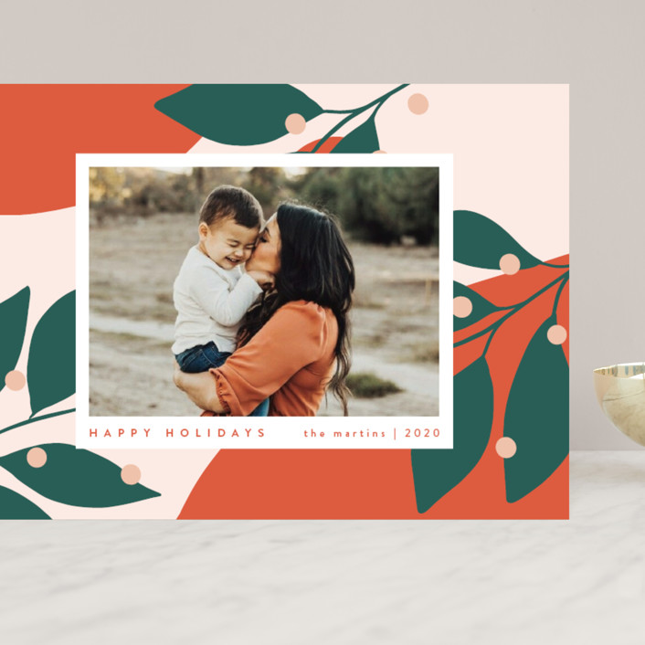 """Bold and Bright"" - Modern Grand Holiday Cards in Mandarin by Kelly Schmidt."