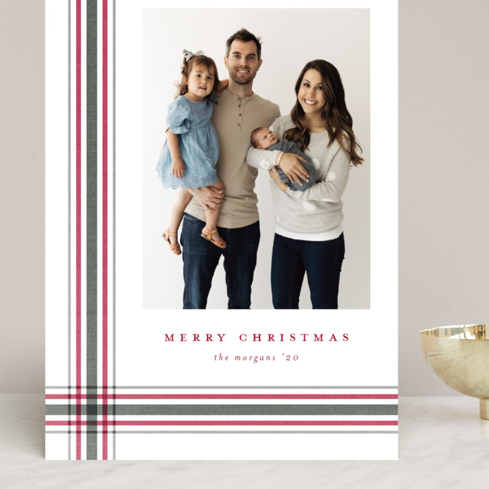 """""""Modern Plaid"""" - Grand Holiday Cards in Poinsettia by Stacey Meacham."""