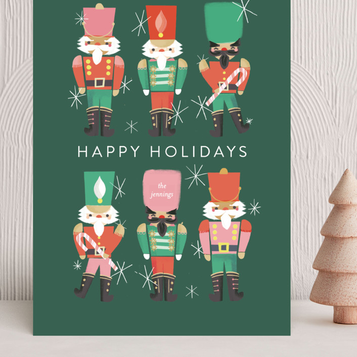 """""""Nutcrackers"""" - Vintage Grand Holiday Cards in Evergreen by Itsy Belle Studio."""