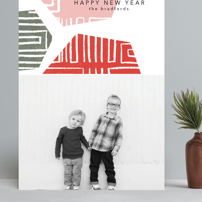 """""""Geometrics"""" - Modern Grand Holiday Cards in Cranberry by Anna Elder."""