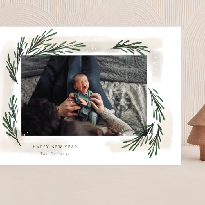"""""""sweeping sprigs"""" - Grand Holiday Cards in Eggnog by Rebecca Durflinger."""