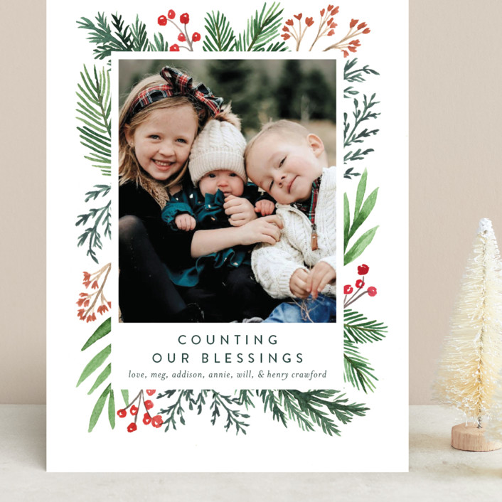 """Evergreen Olio"" - Grand Holiday Cards in Snowflake by Amy Kross."