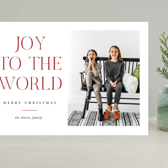 """All The Joy"" - Grand Holiday Cards in Cranberry by Pixel and Hank."