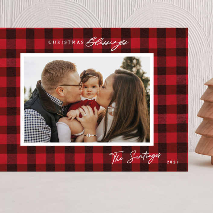 """""""Winter Plaid"""" - Vintage Grand Holiday Cards in Cherry by Elly."""