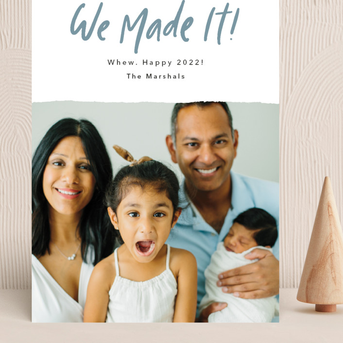 """""""We Made It!"""" - Funny Grand Holiday Cards in Moonstone by Kelsey Mucci."""