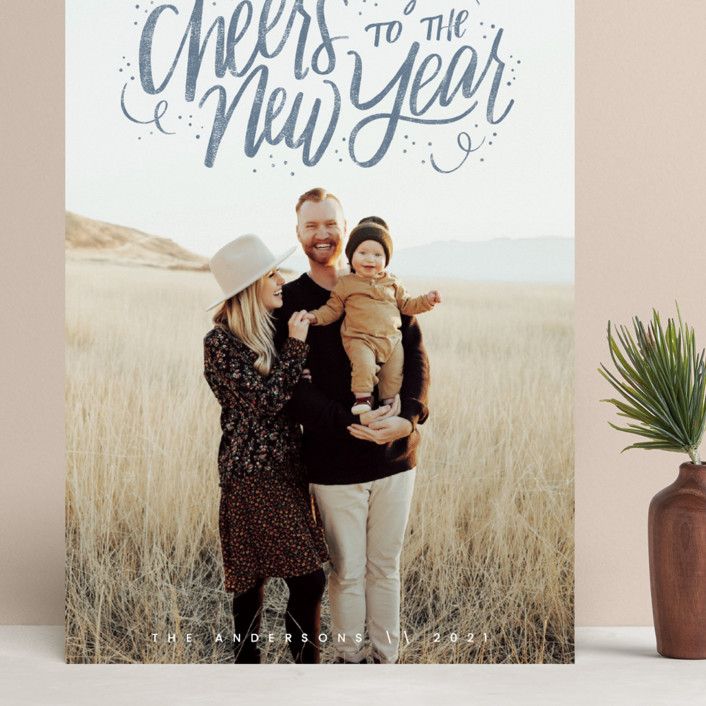 """Cheerful Lettering"" - Bohemian Grand Holiday Cards in Frost by Cindy Reynolds."
