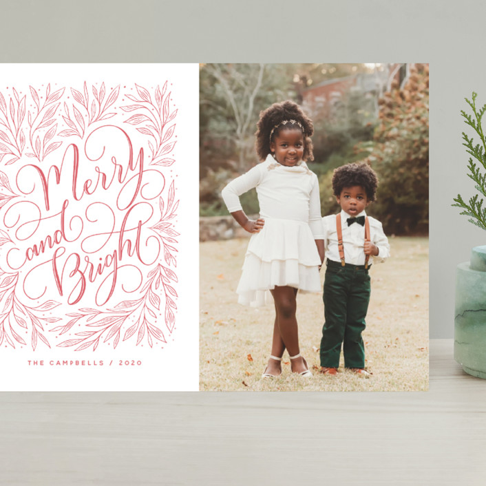"""""""Merry and Bright Hand-lettering"""" - Bohemian Grand Holiday Cards in Strawberry by Nicole Barreto."""