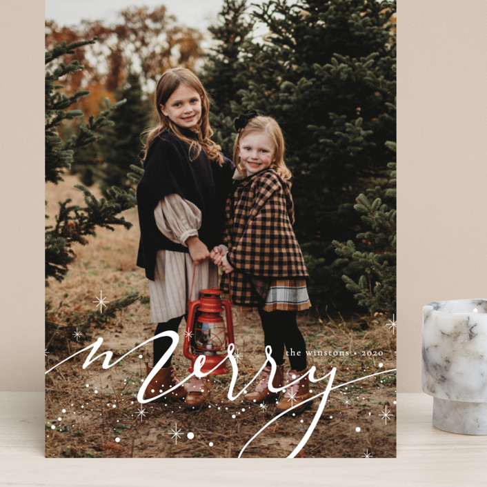 """""""Merry Hand-lettering"""" - Bohemian Grand Holiday Cards in Light by Kann Orasie."""