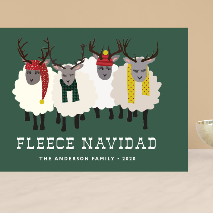 """""""Fleece Navidad"""" - Funny, Modern Grand Holiday Cards in Forest by 24th and Dune."""