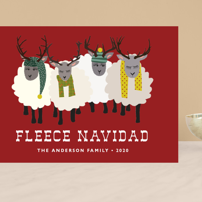 """""""Fleece Navidad"""" - Funny Grand Holiday Cards in Cabernet by 24th and Dune."""