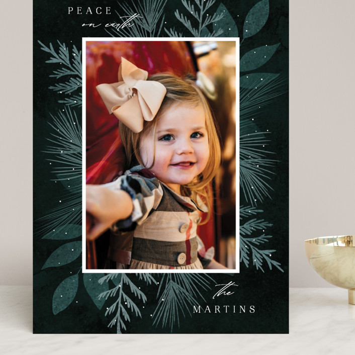 """""""Botanical Frame 2"""" - Grand Holiday Cards in Forest by Kelly Schmidt."""