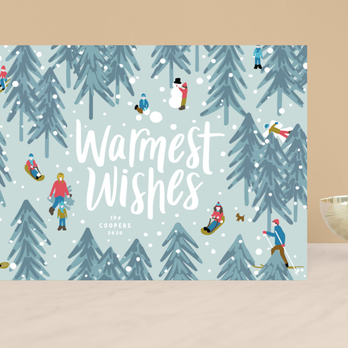 """""""Winter Fun"""" - Grand Holiday Cards in Wintermint by Meggy Masters."""