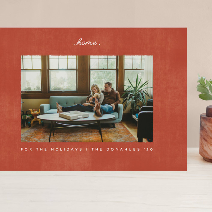 """""""staying at home"""" - Grand Holiday Cards in Brick by Becky Nimoy."""