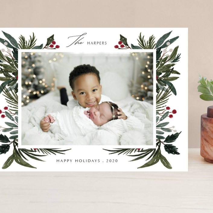 """""""Festive Love"""" - Grand Holiday Cards in Fern by Elly."""