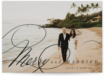 This is a black holiday photo card by Hannah Williams called Merry and Married with standard printing on smooth signature in grand.