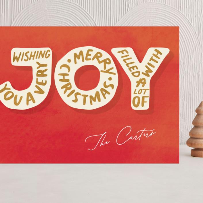 """Joyful Words"" - Grand Holiday Cards in Santa Red by GeekInk Design."