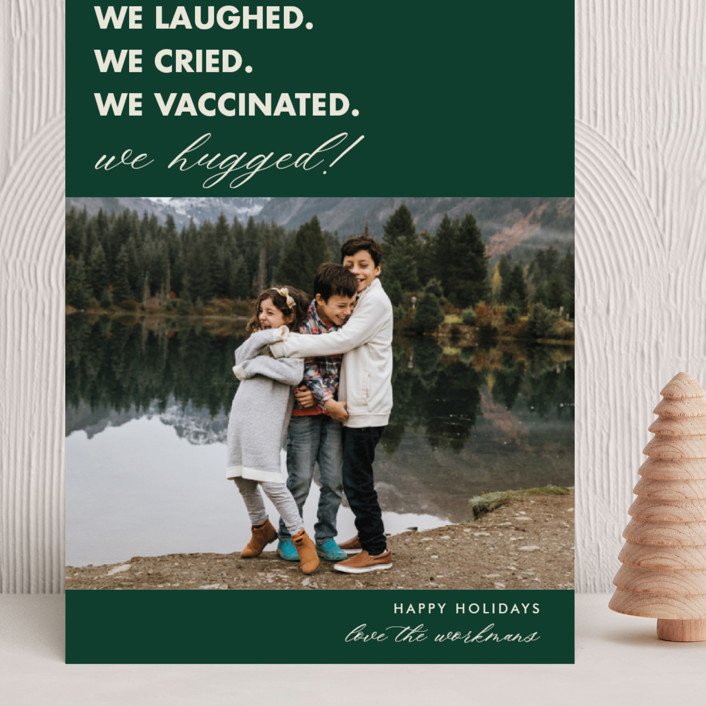 """""""We Made It"""" - Funny Grand Holiday Cards in Pine by Beth Schneider."""