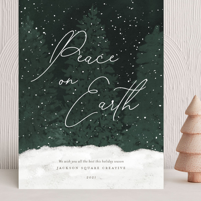 """Winter Wonderland"" - Bohemian Grand Holiday Cards in Evergreen by Robin Ott."