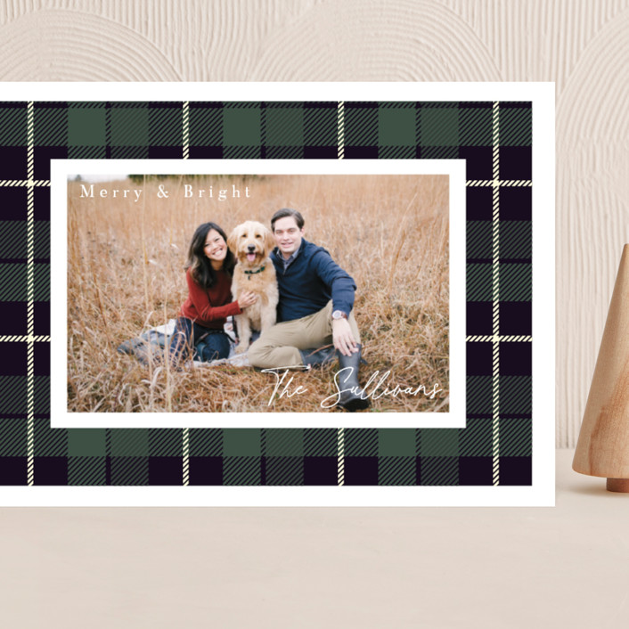 """Christmas Plaid"" - Grand Holiday Cards in Winter Pine by Hudson Meet Rose."