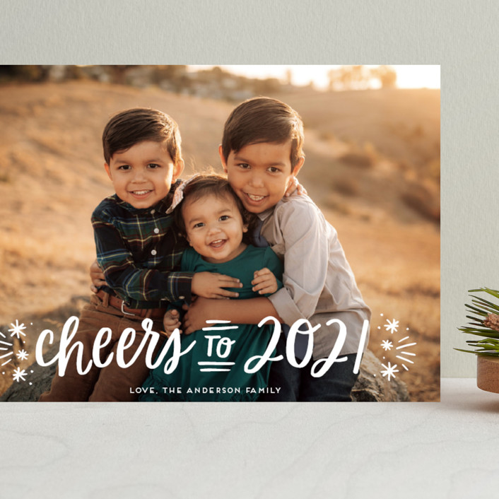 """""""A New Year Cheers"""" - Bohemian Grand Holiday Cards in Snowfall by Little Print Design."""