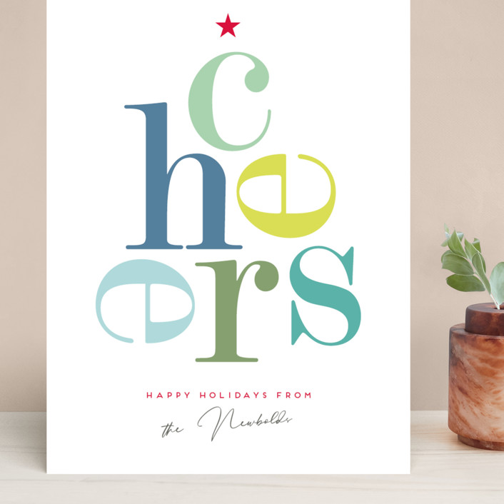 """Cheers"" - Grand Holiday Cards in Winter Green by Eric Clegg."