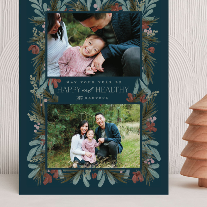 """""""Rustic Floral"""" - Grand Holiday Cards in Night by Calluna Fine Paper."""