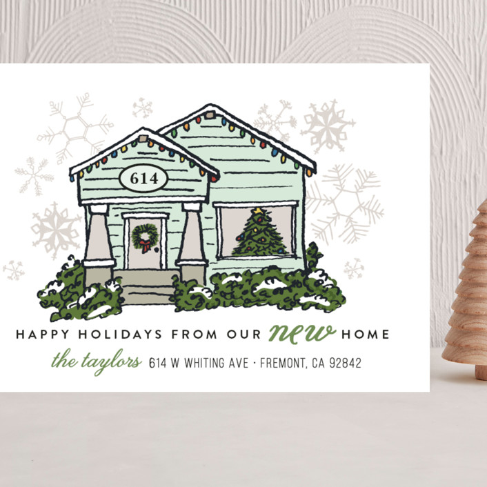 """""""Christmas Lights New Home"""" - Vintage Grand Holiday Cards in Mist by Shiny Penny Studio."""