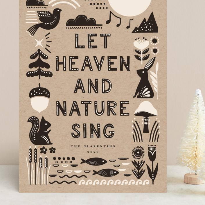 """""""Let Heaven and Nature Sing"""" - Bohemian Grand Holiday Cards in Charcoal by Vivian Yiwing."""
