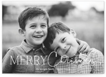 This is a white holiday photo card by Jessica Williams called Delightful Script with standard printing on smooth signature in grand.