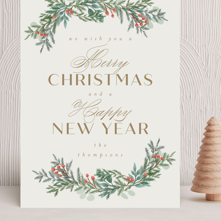 """""""Merry and Happy"""" - Grand Holiday Cards in Toffee by Ashlee Townsend."""