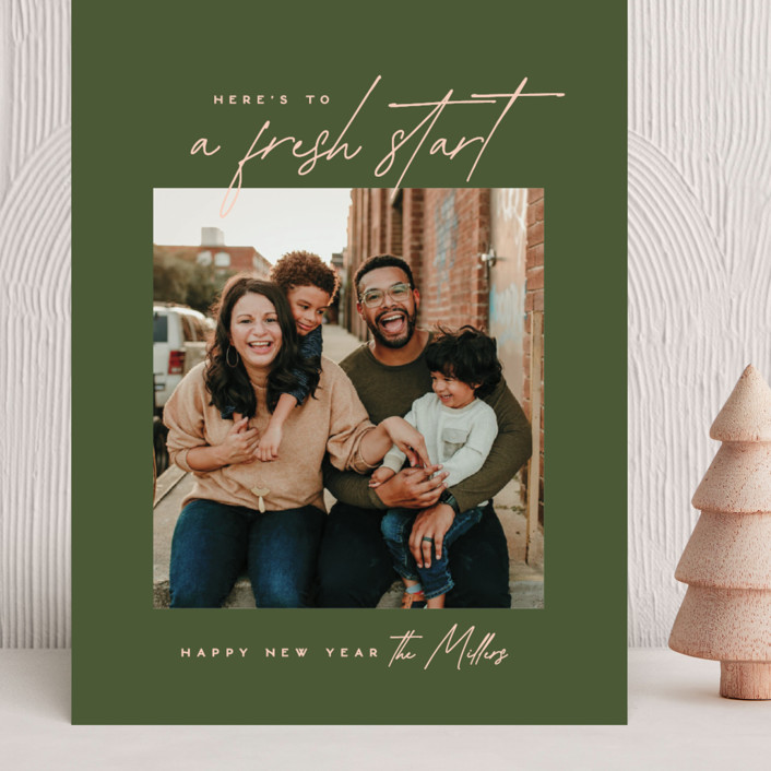 """""""Fresh Start"""" - Grand Holiday Cards in Olive by Owl and Toad."""