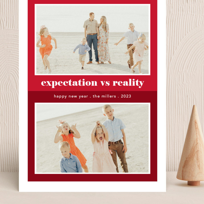 """""""Expectation vs Reality"""" - Funny Grand Holiday Cards in Ruby by Caitlin Considine."""