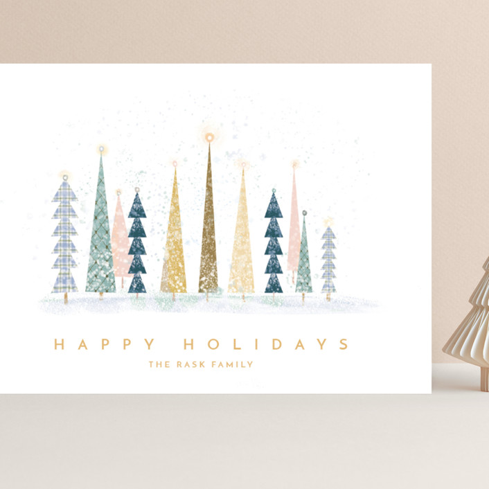"""Happy Holidays"" - Vintage, Modern Grand Holiday Cards in Snow by Laura Mitchell."