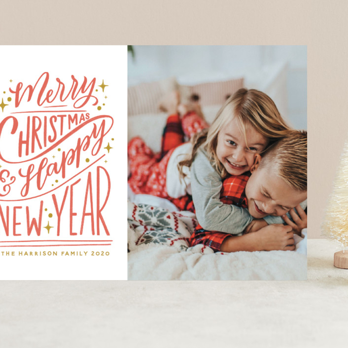 """""""Hand-Lettered"""" - Bohemian, Vintage Grand Holiday Cards in Peppermint by Nicole Barreto."""