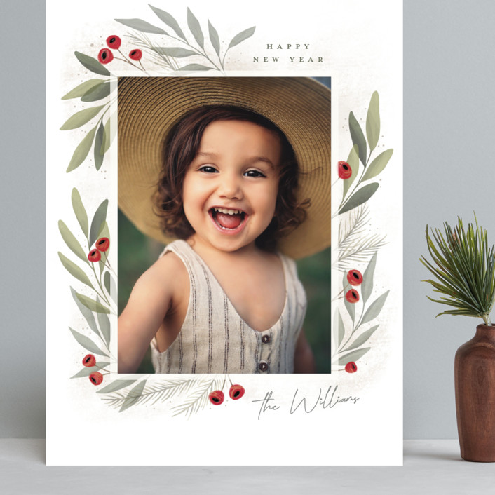 """""""Merry Botanical"""" - Grand Holiday Cards in Pearl by Cindy Reynolds."""