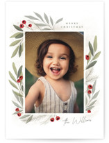 This is a white holiday photo card by Cindy Reynolds called Merry Botanical with standard printing on smooth signature in grand.