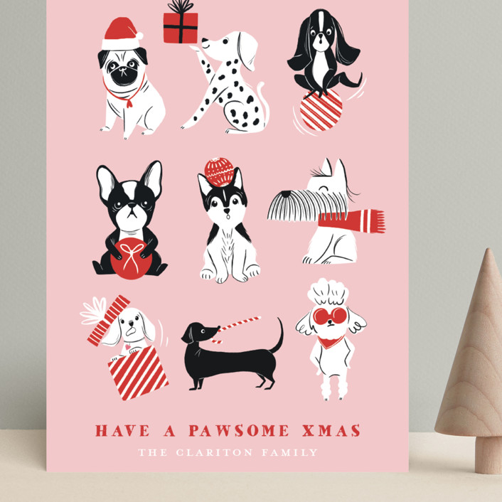 """Pawsome Xmas"" - Funny Grand Holiday Cards in Blush by Vivian Yiwing."