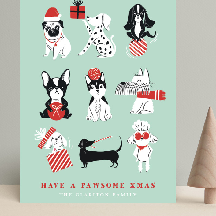 """Pawsome Xmas"" - Funny Grand Holiday Cards in Mint by Vivian Yiwing."