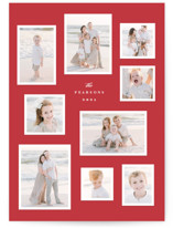 This is a red holiday photo card by Hooray Creative called Modern Snapshots with standard printing on smooth signature in grand.