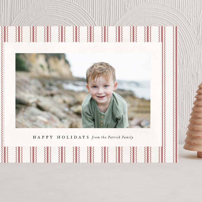 """""""Farmhouse Linen"""" - Vintage Grand Holiday Cards in HollyBerry by Amy Payne."""