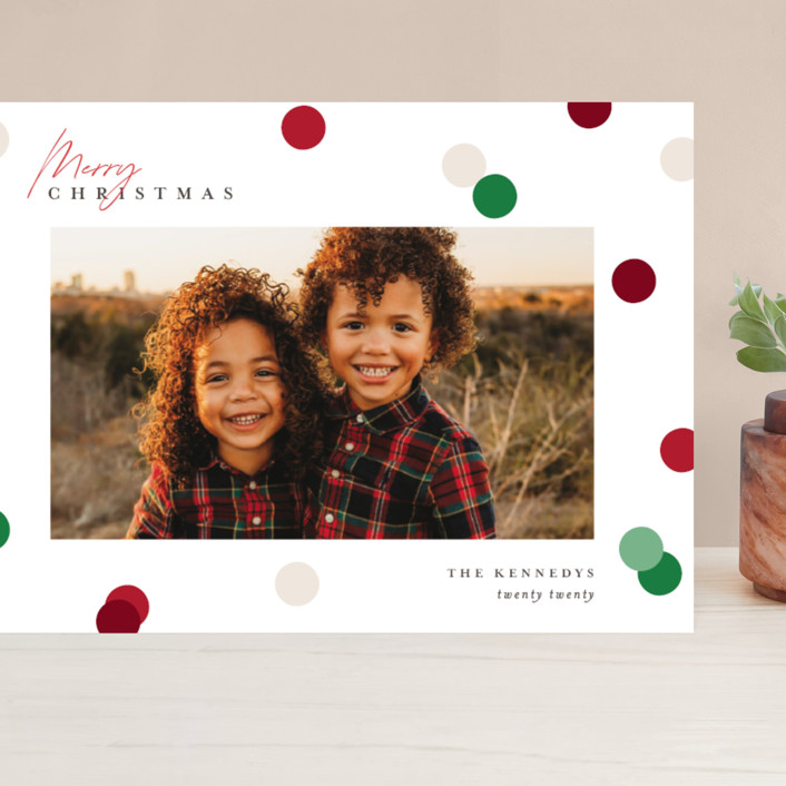 """""""Christmas Dots"""" - Modern Grand Holiday Cards in Cardinal by Pixel and Hank."""