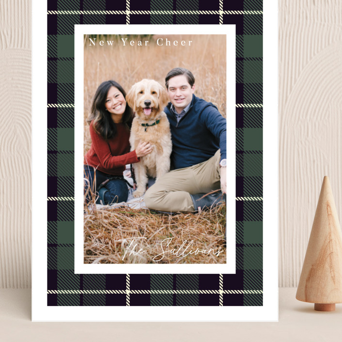 """""""Christmas Plaid"""" - Vintage Grand Holiday Cards in Winter Pine by Caitlin Considine."""